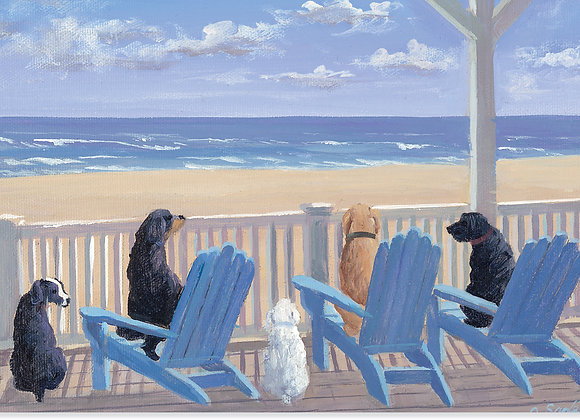 Dogs In Deck Blank Boxed Cards