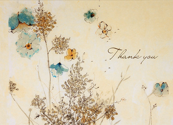 Watercolour Flowers Thank You Boxed Cards