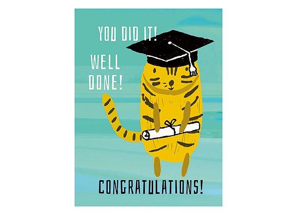 J & M Martinez Cat Graduation Card