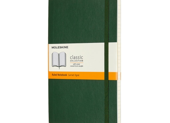 Classic Large Myrtle Green Hard Cover Ruled Notebook