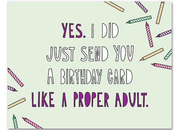Proper Adult Birthday Card