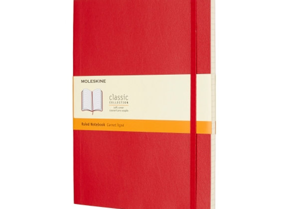 Classic X-Large Scarlet Red Soft Cover Ruled Note