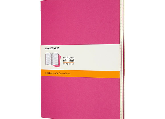 Cahier XL Kinetic Pink Set Of 3 Ruled Journals