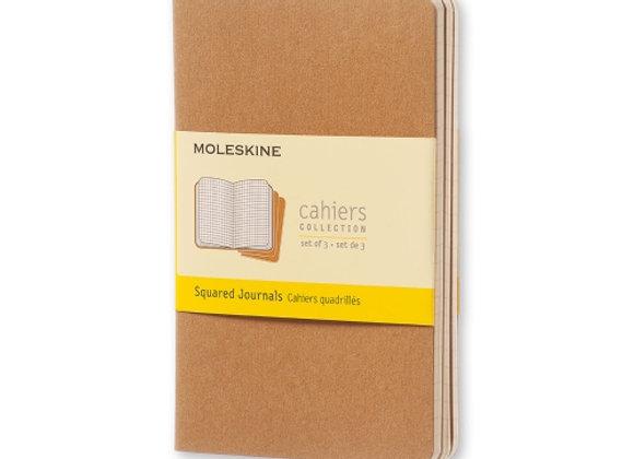 Cahier Pocket Kraft Brown Set Of 3 Square Journals