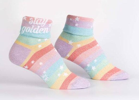 Turn Cuff Crew Stay Golden Socks