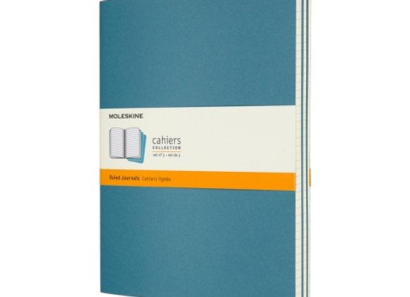 Cahier XL Brisk Blue Set Of 3 Ruled Journal
