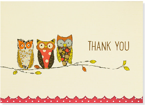 Perching Owls Thank You Boxed Cards