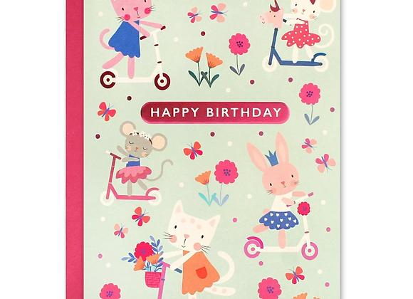 Pink Animals Birthday Card