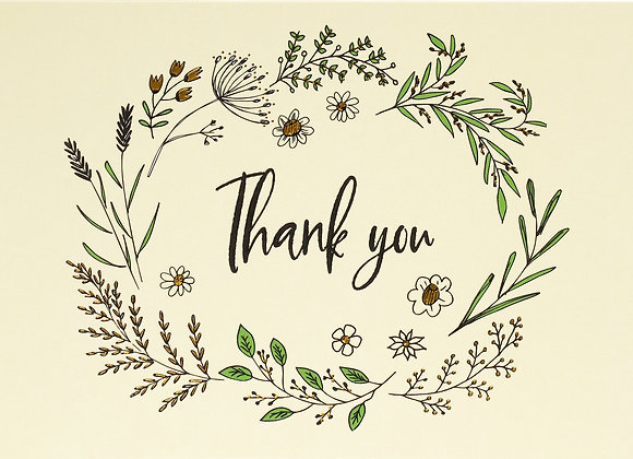 Native Botanicals Thank You Boxed Cards