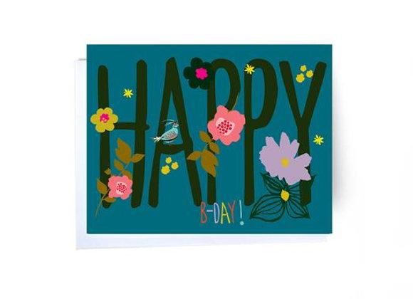 Happy Birthday Bird Sitting On A Letter Card