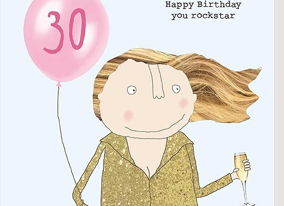 30 Female Rockstar Birthday Card