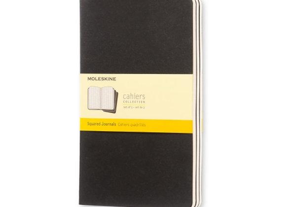 Cahier Large Black Set Of 3 Squared Journals