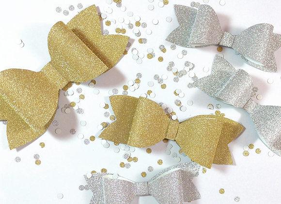 Paper Glitter Bows Gold & Silver