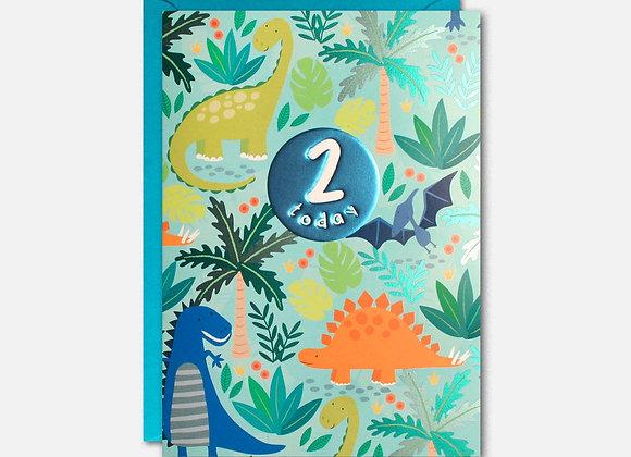 2 Blue Dinosaur Birthday Card