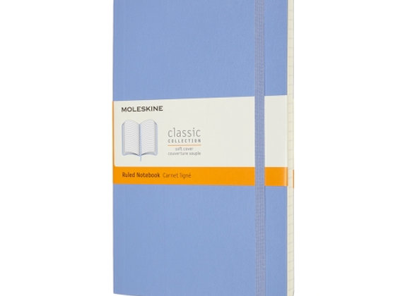 Classic Large Light Blue Soft Cover Ruled Notebook
