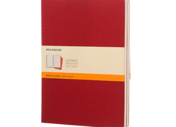 Cahier XL Cranberry Red Set Of 3 Ruled Journals