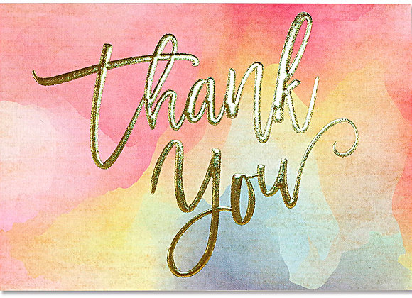 Watercolour Sunset Thank You Boxed Cards
