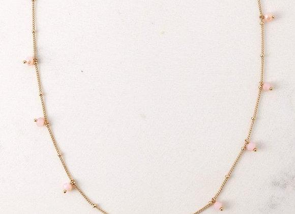 Dot Crystal Necklace Blush