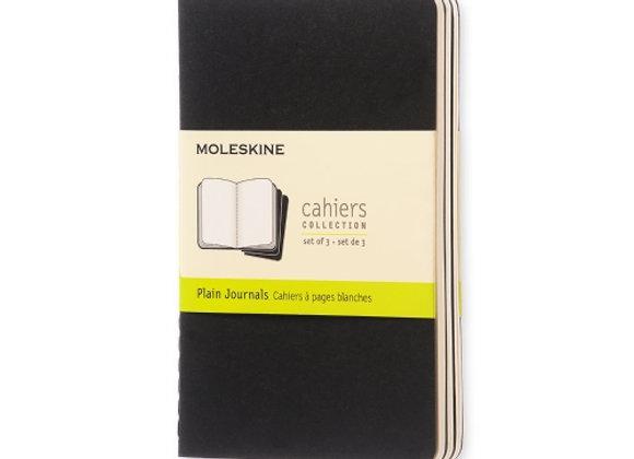 Cahier Pocket Black Set Of 3 Plain Journals