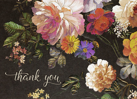 Midnight Floral Thank You Boxed Cards