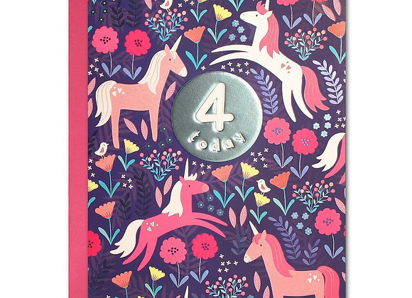 Unicorn Kids 4th Birthday Card