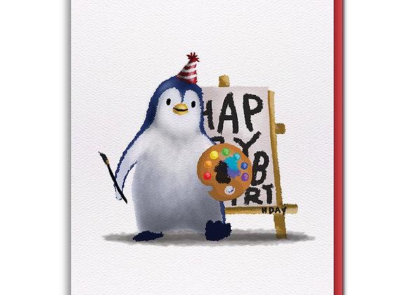 Penguin Painting Birthday Card