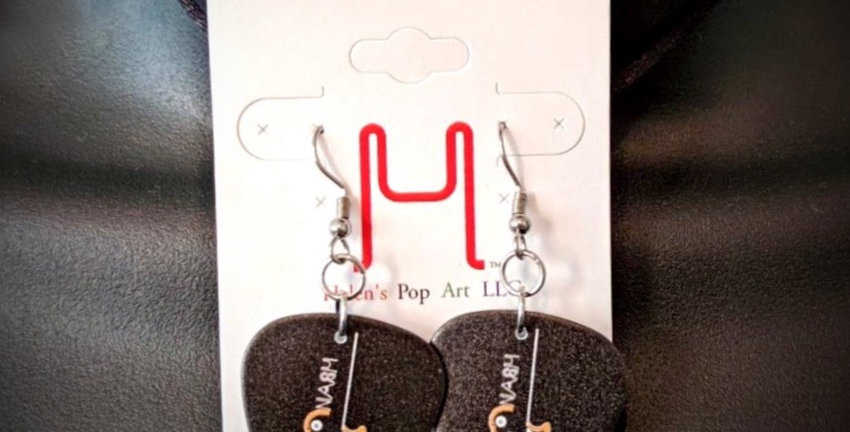 Black Les Paul Guitar Pick Earrings - Original Art