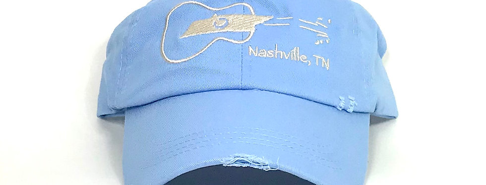 Nashville Tennessee Sideways Guitar Distressed Hat