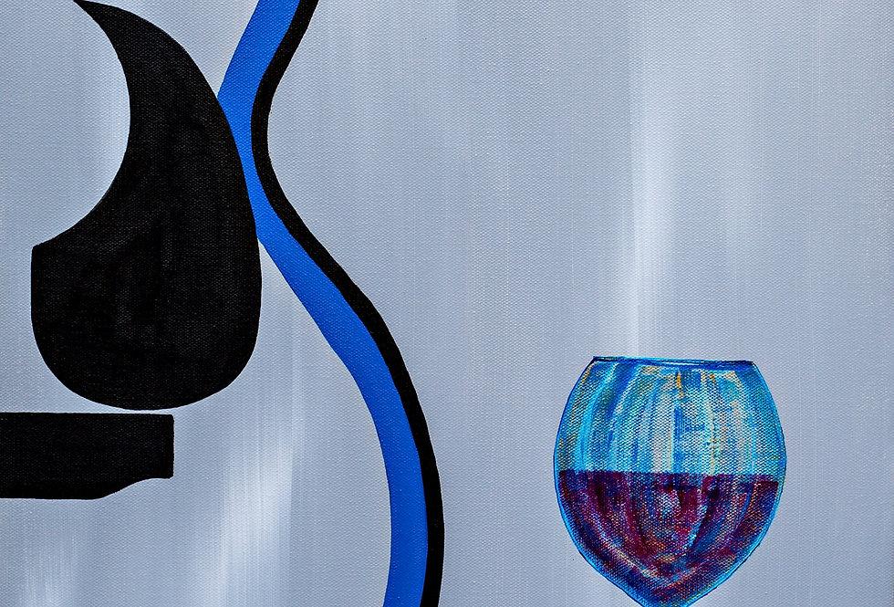 """Blue Acoustic W/Wine Original Art 16""""X 20"""""""