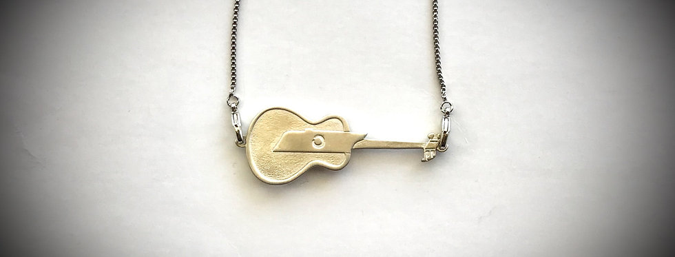 Tennessee Sideways Guitar Necklace - Corithian Silver  - Original Art