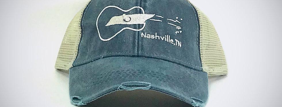 Tennessee Sideways Guitar Distressed Trucker Hat