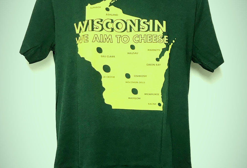 "Wisconsin ""We Aim To Cheese"" Unisex Tee"