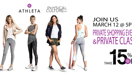 Save 15% and Join us for a Private Class at ATHLETA