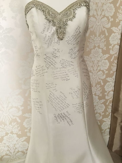 Wedding dress signed by brides
