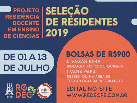 ReDEC abre seleção para novos residentes bolsistas.