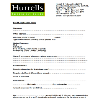 HURRELLS SEEDS CREDIT FORM