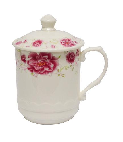 #802544 TEA CUP WITH LID-RED FLOWER-S 紅花茶杯帶蓋(1 SET)