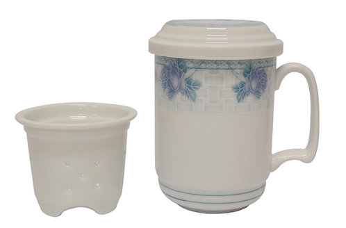 """#802645 TEA CUP WITH FILTER-ORCHID-3.6"""" 蘭花茶杯含濾心(1 SET)"""