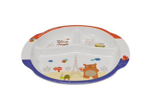 "#807755 MLM BONNIE JUNGLE 3 DIVIDED PLATE-9.1"" 兒童三格餐盤-熊"