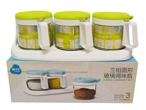 #803026 CHAHUA 3-BOWL CONDIMENT SET(6016) 三組圓形玻璃調味罐(1 SET)