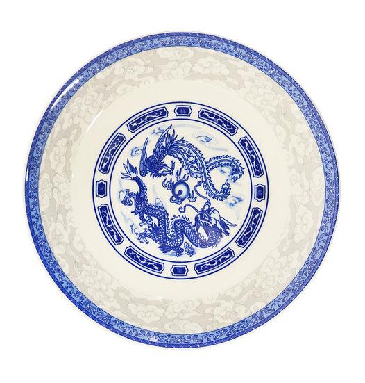 "9"" DINNER PLATES - BLUE DRAGON,ITEM#00802713,日常瓷盤-龍鳳(3 PCS)"