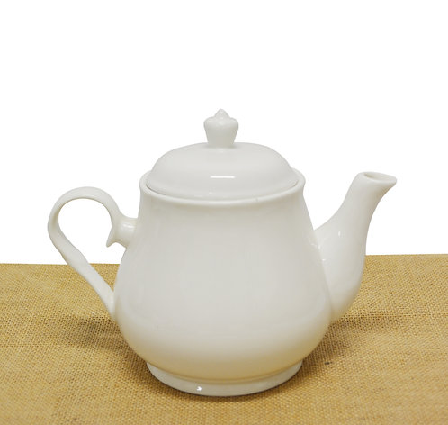 "#802841 TEA POT-WHITE-8.5"" 白瓷茶壺-強化瓷(1 SET)"