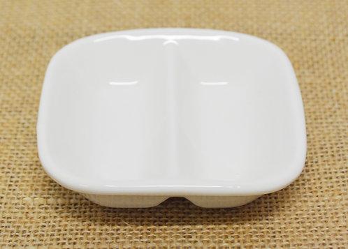 "#802837 DOUBLE SAUCE DISH-WHITE-3.25"" 白瓷雙邊醬料碟-強化瓷(12 PCS)"
