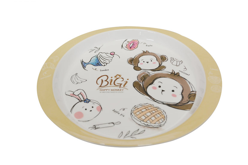 "MELAMINE MONKEY KIDS PLATE-9.5"",ITEM#00807733,兒童多用盤-猴子(4 PCS)"