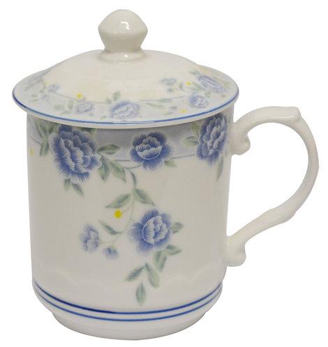"""#802343 CUP-BLUE PEONY-3.6"""" 藍牡丹茶杯帶蓋(1 SET)"""