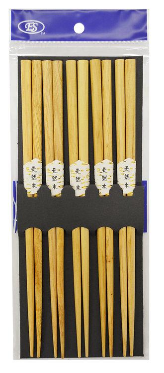 #801942 WOOD CHOPSTICKS-5 PAIRS 天然木筷