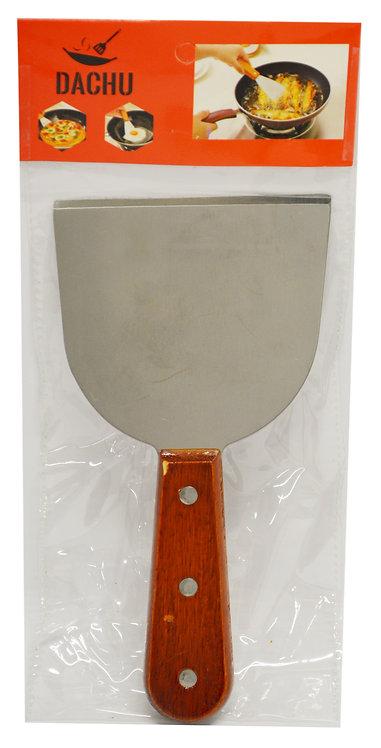 "#801391 GRILL BLADE SCRAPER WITH WOOD HANDLE-4"" 木柄直口三角鏟"