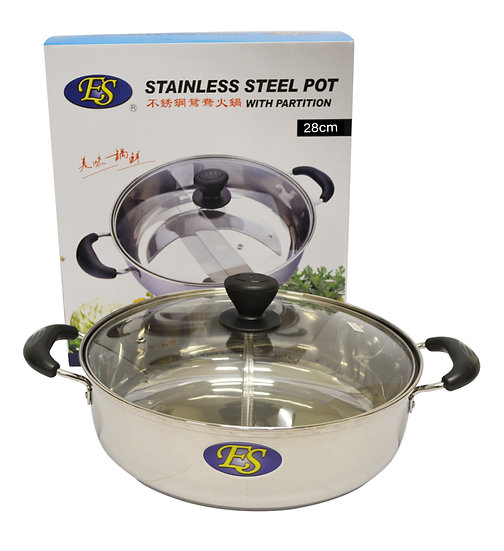 28CM STAINLESS STEEL HOT POT W/ DIVIDER/GLASS LID,ITEM#00800190, 不銹鋼鴛鴦火鍋(1 PCS)