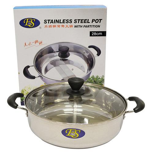 #800190 STAINLESS STEEL HOT POT W/ DIVIDER & GLASS LID -28CM 不銹鋼鴛鴦火鍋