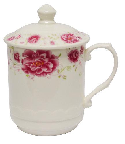 #802543 TEA CUP WITH LID-RED FLOWER-L 紅花茶杯帶蓋(1 SET)